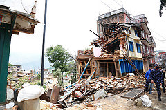 Collapsed buildings in earthquake-hit Chautara, Nepal